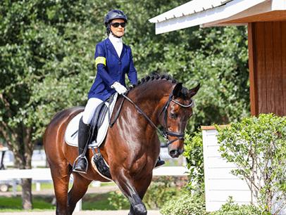 Woman in equestrian gear riding horse