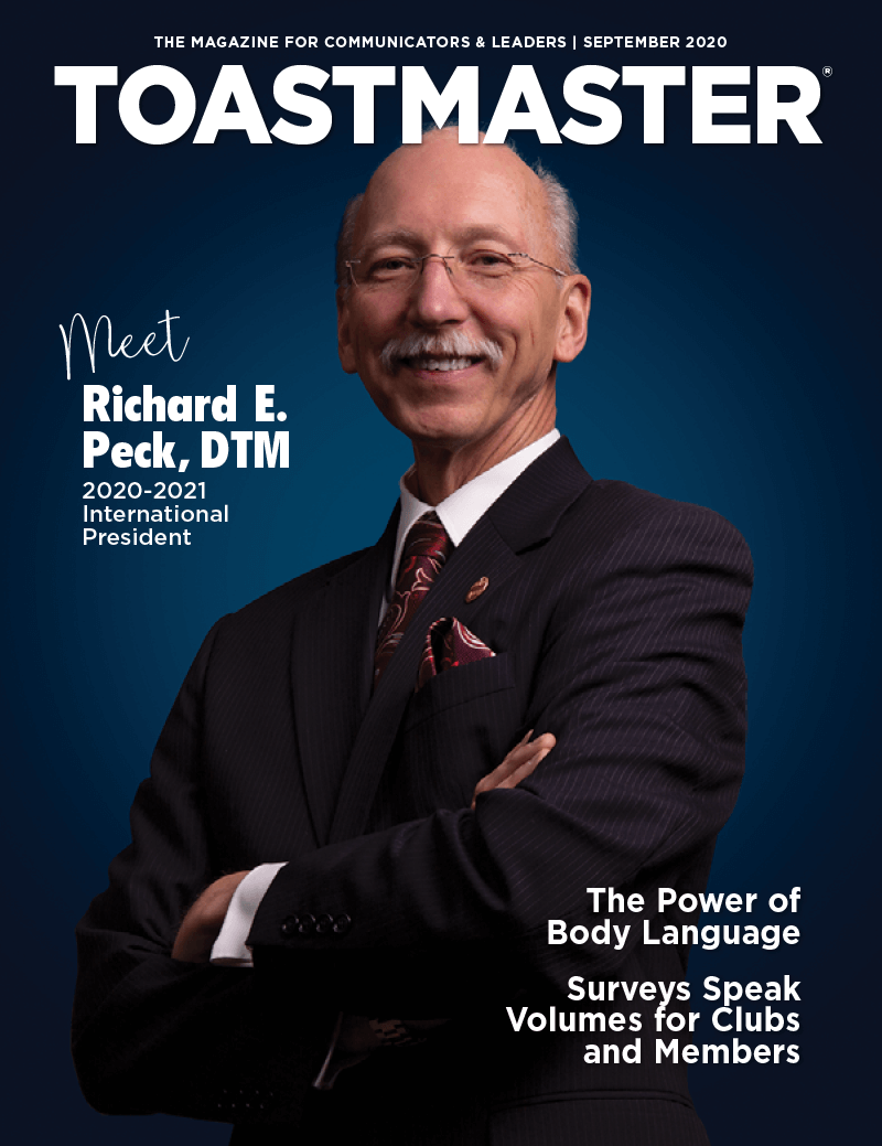 September Magazine Cover with newly elected Toastmaster International President Richard E. Peck