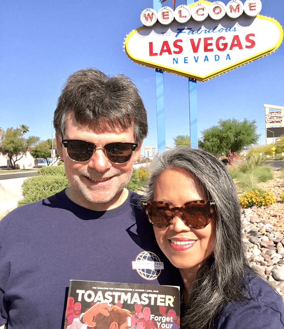 Curtis Helt, DTM, and Cristina Scoble, DTM, of Las Vegas, Nevada, didn't travel far with their Toastmaster during the COVID-19 pandemic.