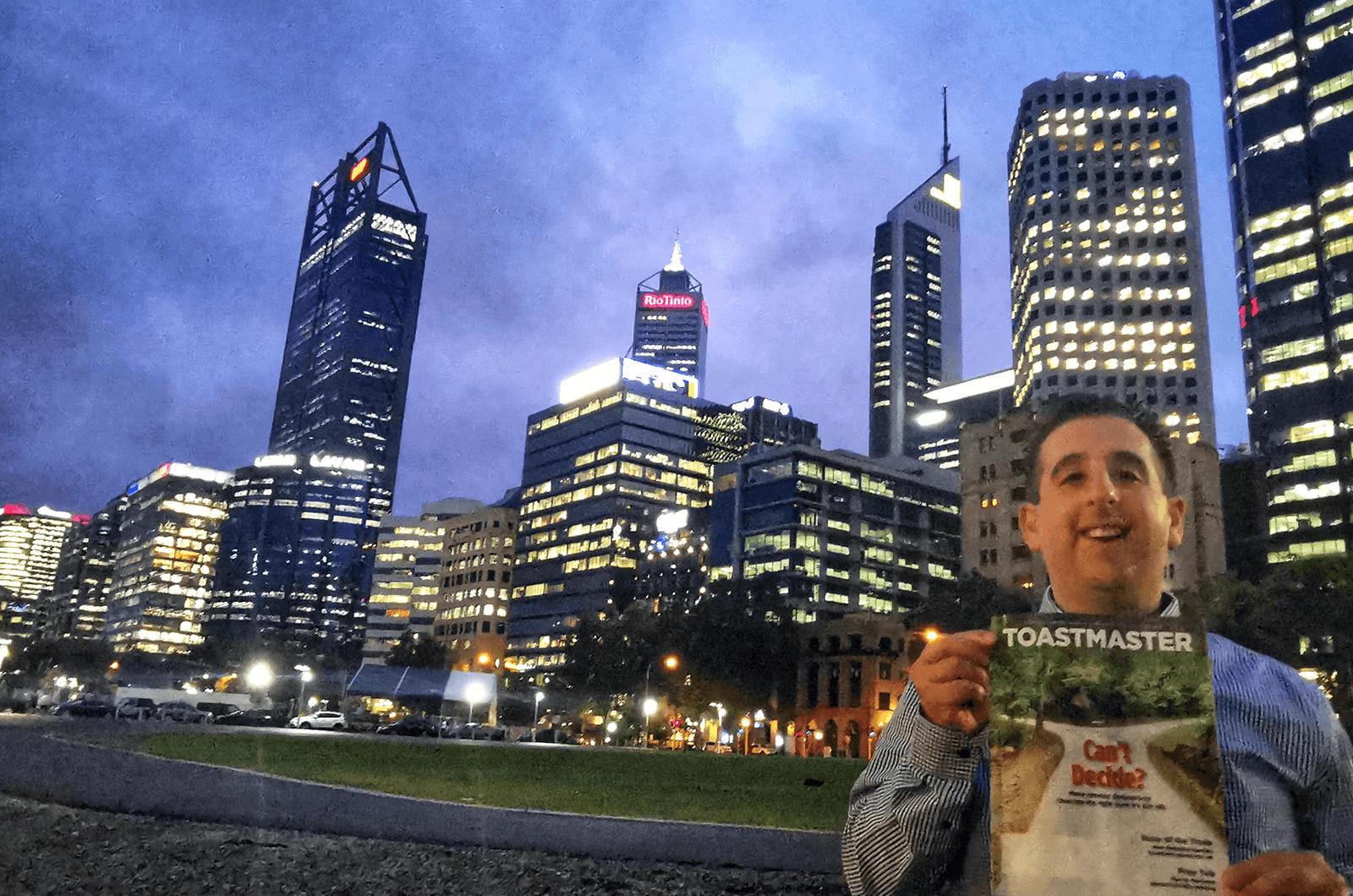 Matthew Carniel of Perth, Australia, enjoys the city lights of Perth.