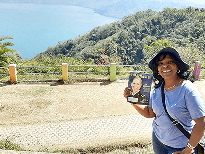 Sandra Fénelon of Montreal, Quebec, Canada, visits Mirador de Catalina, which overlooks the Apoyo Lagoon in Nicaragua in January.