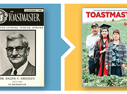 Cover images of Gavel and Toastmaster magazines and digital version