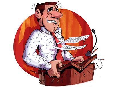 Illustration of man nervous at lectern