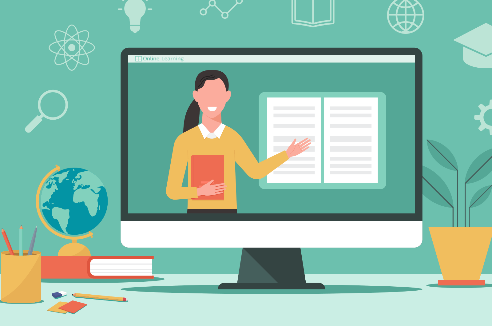 Cartoon female teacher coming out of laptop with books, globe, coffee, and plant surrounding