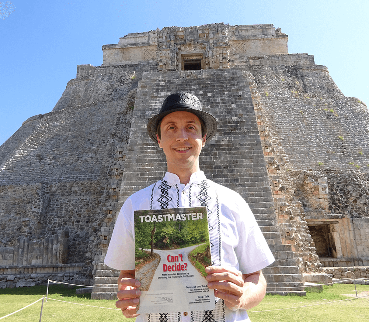 Caleb Werth of South St. Paul, Minnesota, stands in front of the Pyramid of the Magician—the tallest and most distinctive Mayan structure in Uxmal, Mexico, an ancient city on the Yucatan Peninsula.