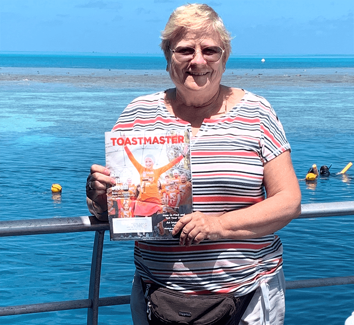 Mary Beganyi, DTM, of Las Vegas, Nevada, visits the Great Barrier Reef in Australia—the world's largest coral reef system. She dreamed of visiting for years and was finally able to just before the COVID-19 pandemic.