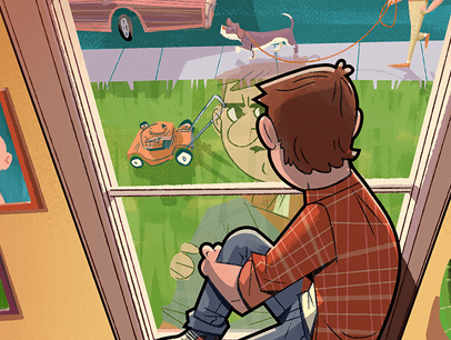 Illustration of man looking out window at yard