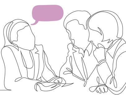 Illustration of three people talking