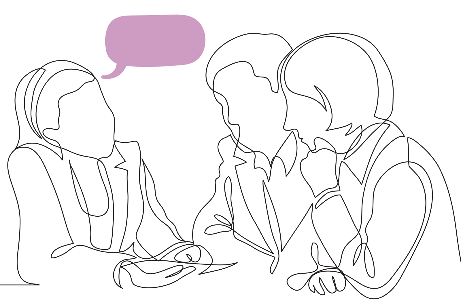 Illustration of three people talking