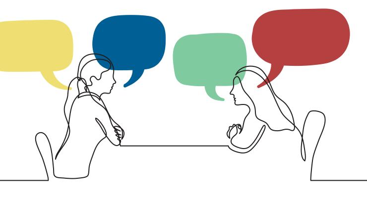Illustration of two women speaking across table