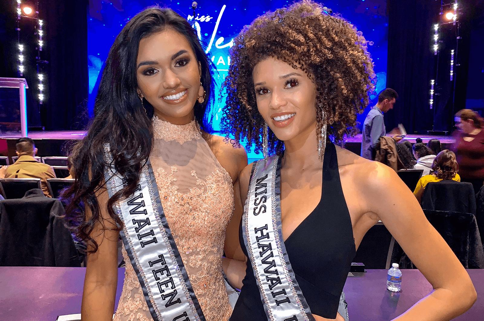 Miss Hawaii Teen USA Kiʻilani Arruda (left), poses with Neyland at an event.