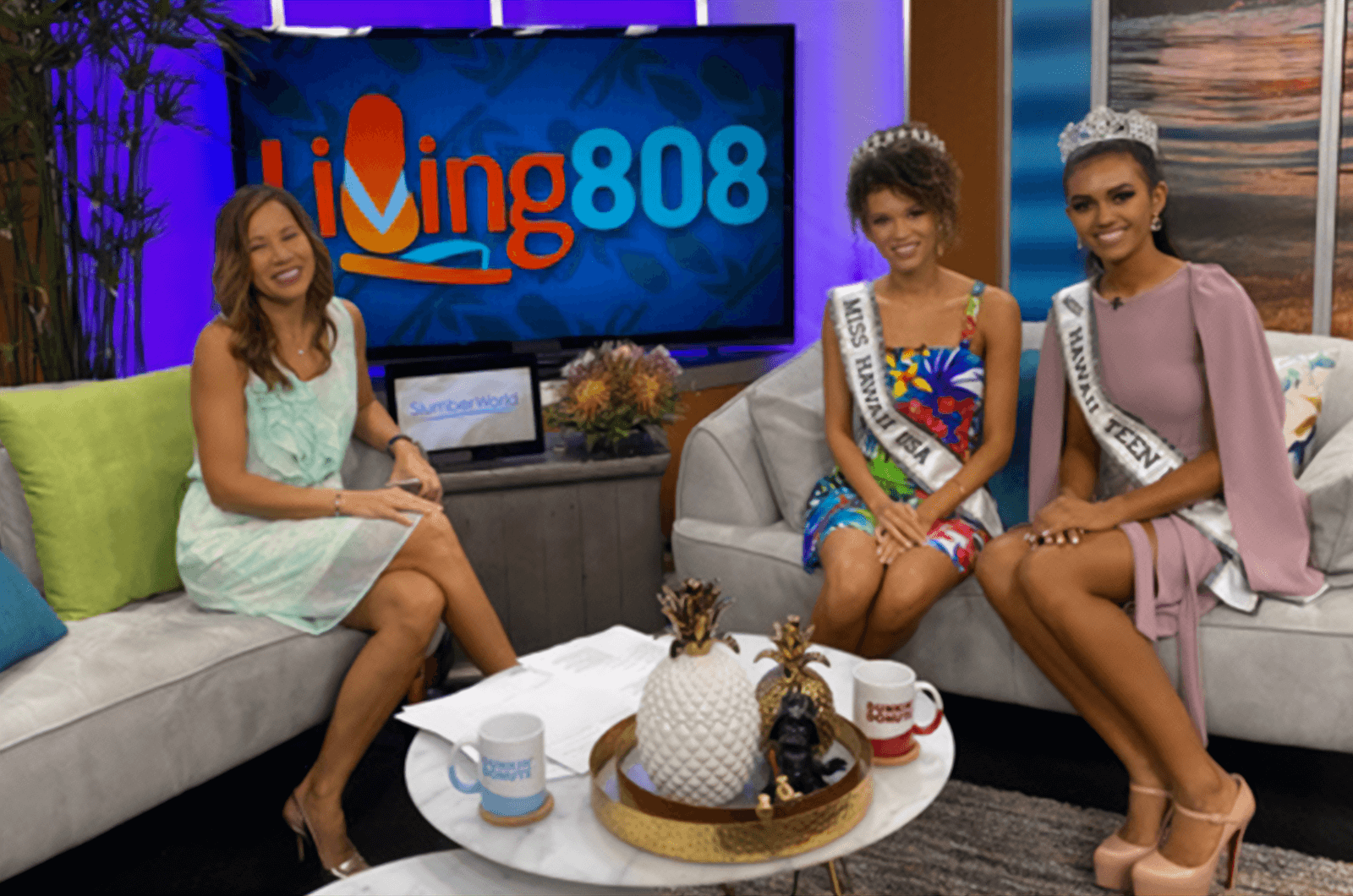 Neyland poses next to Miss Hawaii Teen USA Kiʻilani Arruda (right) during a TV interview with Living 808. Photo Credit: BK Photo