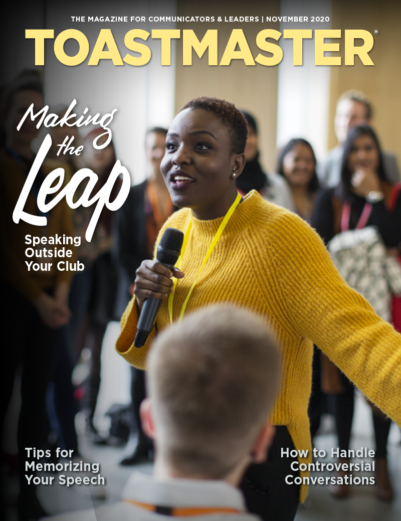 Cover of the November Toastmaster magazine