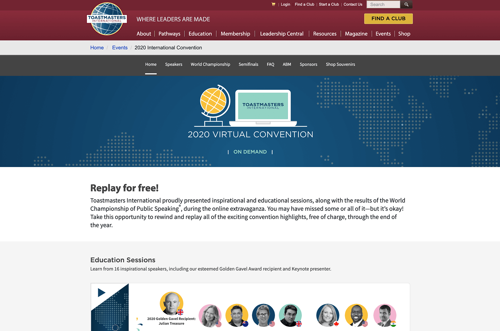 Convention webpage from Toastmasters website