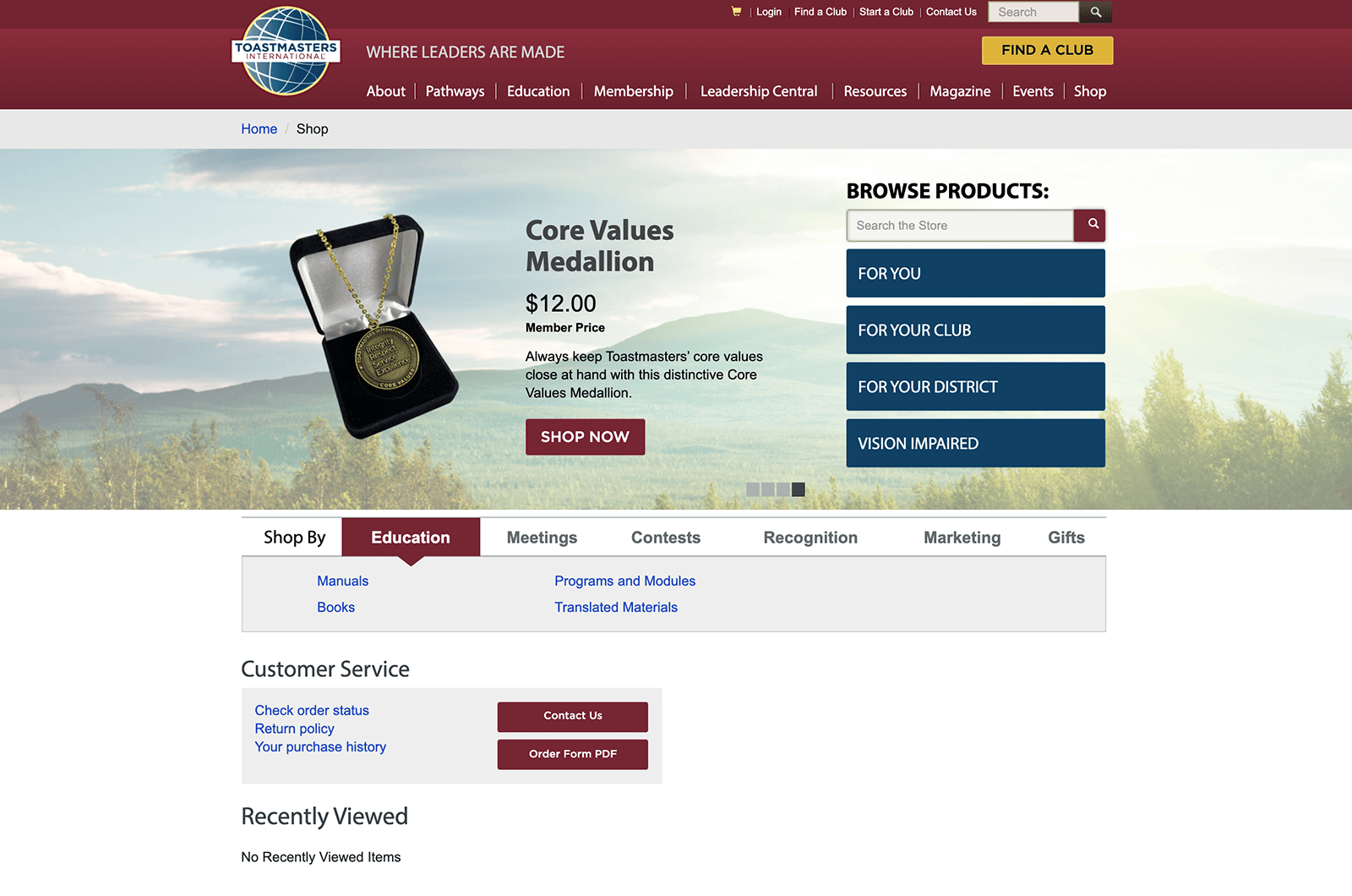 Webpage for Toastmasters Online Store