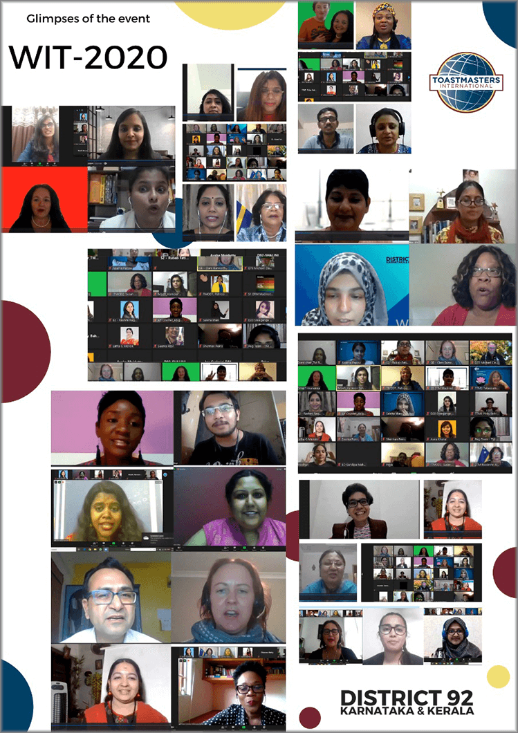 Glimpses of attendees of the Women in Toastmasters (WIT) virtual event, which took place in June 2020.