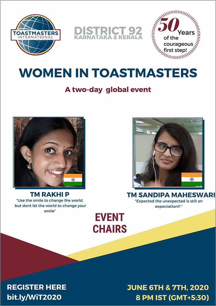 A successful partnership between Rhaki P. and Sandipa Maheswari helped make the Women in Toastmasters event possible.