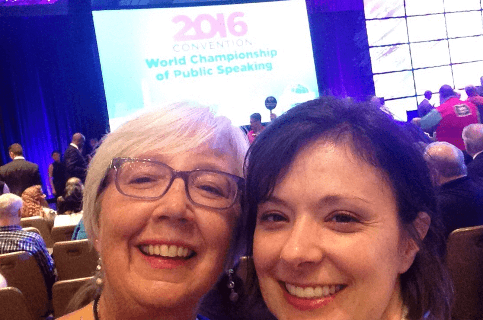 Gail Marsh (left), poses with her niece, Toastmaster Jen Czapla, at the 2016 Toastmasters International Convention held in Washington, D.C.