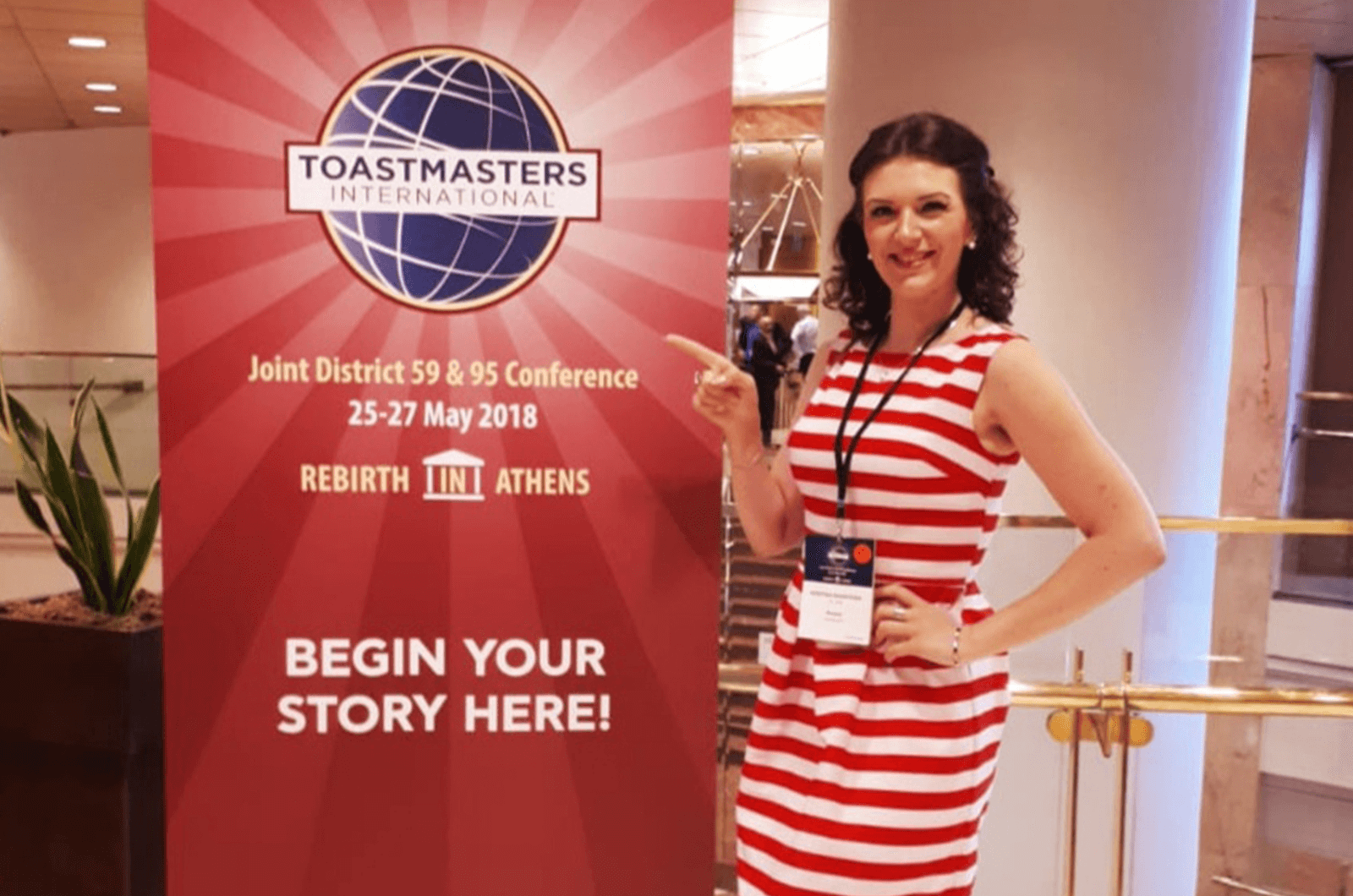 Kristina Sharykina was introduced to Toastmasters by her boyfriend Alex de Jong, who was introduced by his father.