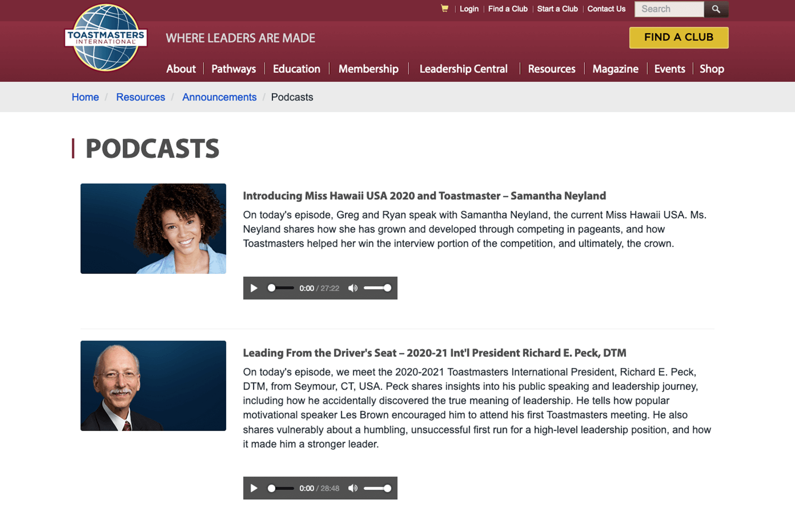 Toastmasters International podcast web page