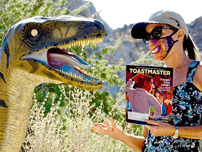 Deborah McAdams of Palm Springs, California, explains the benefits of Toastmasters to a new friend at the Living Desert in Palm Desert, California.