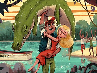 Illustration of man holding up crocodile and saving women