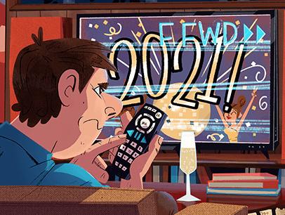 Illustration of man looking at TV screen