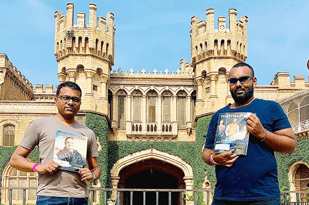Chamil Madusanka (left) and Chirantha Sirikumara, of Veyangoda, Sri Lanka, visit Bangalore Palace—now one of the oldest colleges in India—in Bangalore, Karnataka, India, in December 2019.