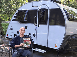 Keith Yeung of Markham, Ontario, Canada, travels with his trailer to safely enjoy the Killbear Provincial Park near Nobel, Ontario, Canada.