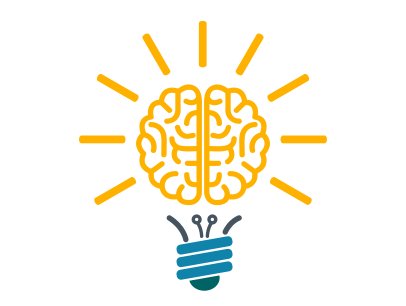 Lightbulb with brain graphic