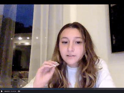 Woman performing speech online