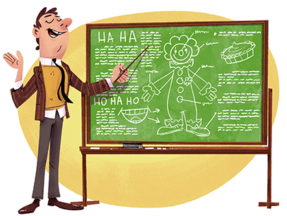 Illustration of man pointing to a chalkboard