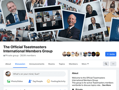 The Official Toastmasters International Members Group web page