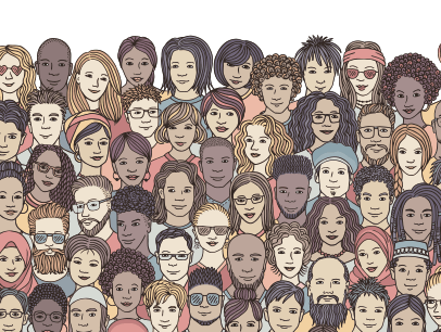 Group of diverse people drawn