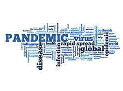 Word cloud with pandemic-related words