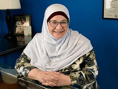Woman posing in white hijab