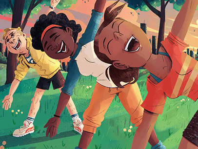 Illustration of three people in park laughing and stretching