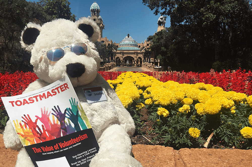 Smedley, the WesBank Toastmasters club mascot in Johannesburg, South Africa, visits the Palace of the Lost City in Sun City, South Africa.