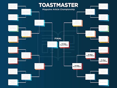 Brackets with Toastmaster magazine articles final round