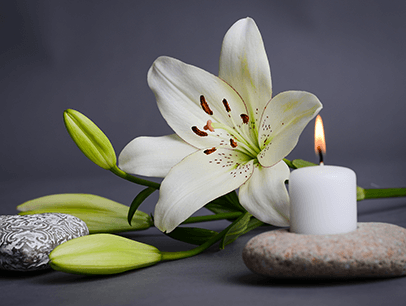 Flower next to candle and rocks