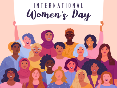 Illustrated women holding up International Women's Day sign
