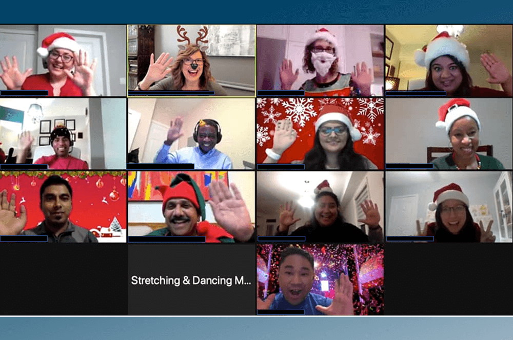 Members of Glen Abbey Toastmasters use hats, music, and themed backgrounds to keep their meetings lively.