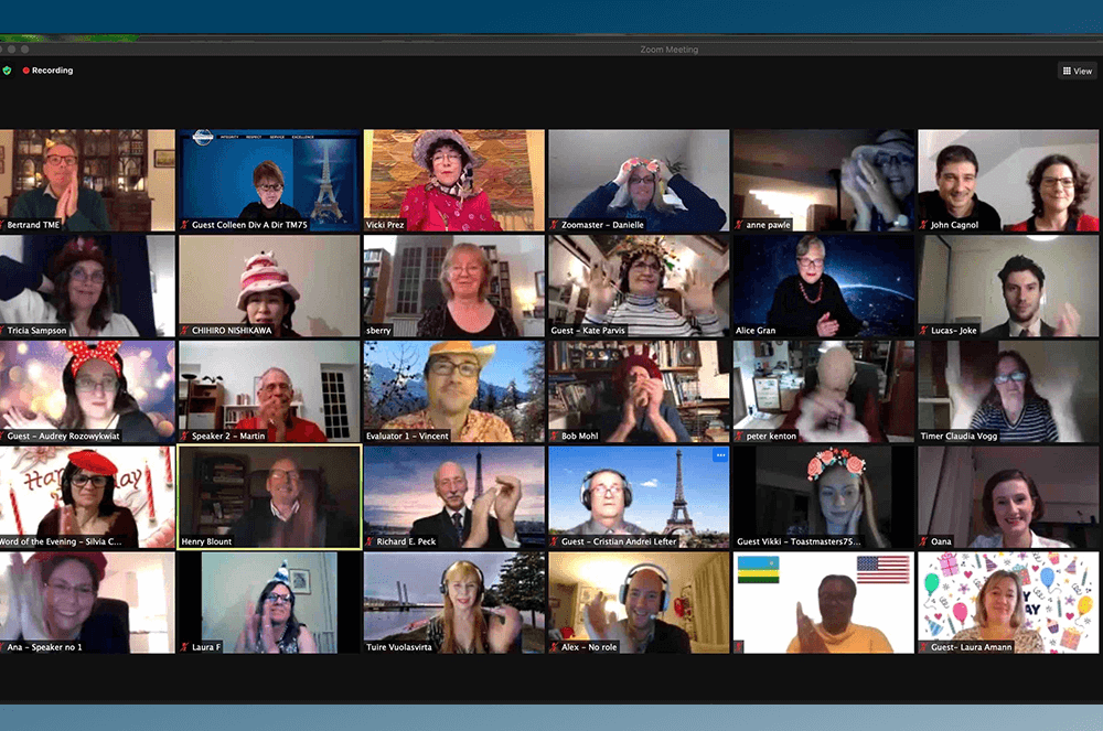 Toastmasters of Paris members held a virtual birthday party to celebrate the club's 45th anniversary.