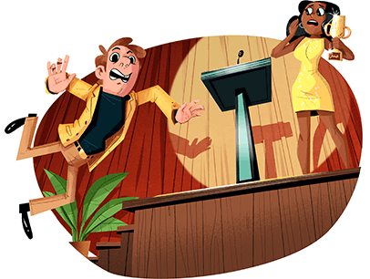 Illustration of man tripping and falling going up to stage