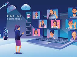 Cartoon woman looking at others during online conference