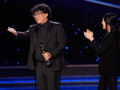 Bon Joon Ho accepting award onstage