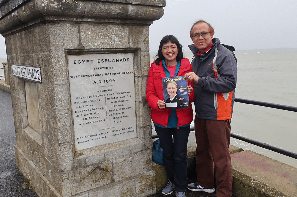 Dora Voon, DTM, of Kota Kinabalu, Sabah, Malaysia, and her husband visit Cowes, Isle of Wright, England—home to the oldest and biggest sailing regatta in the world—in February 2020.