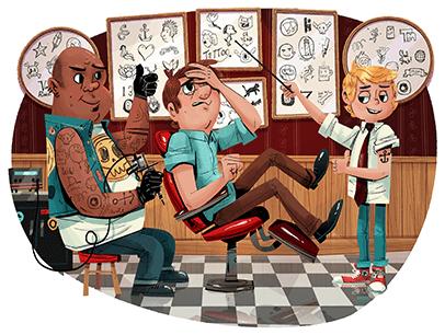 Illustration of man at tattoo parlor