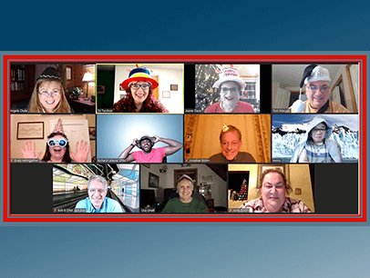 People wearing hats on Zoom meeting
