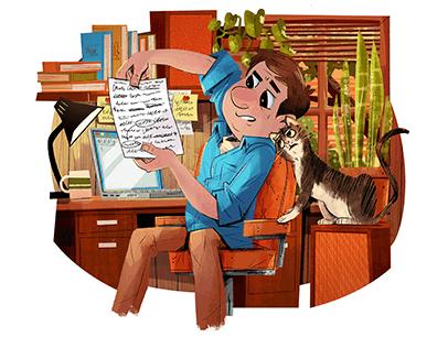 Illustration of man sitting at desk next to cat